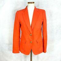 Womens J CREW Solid Tangerine w/Gold Buttons 100% Linen Blazer Jacket sz 6