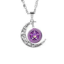 Retro Moon Goddess Star Time Gemstone Necklace Galaxy Sun God Pendant Sweater