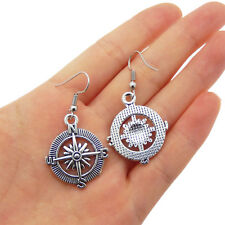 Handmade Vintage Silver Metal Compass Charm Dangle Hooks Earrings Jewellery