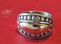 James Avery Beaded Dome Ring  Sterling Silver & 14K  Size 7