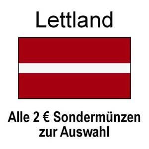 Lettland - alle 2 Euro Sondermünzen Gedenkmünzen - alle Jahre - bankfrisch unc.
