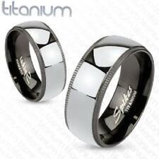 Titanium 2-Tone Black Grooved Edges w Solid Polished Mirror Center Titanium Band