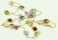 "Multi-color 5 mm Gemstones 24"" Necklace 14k Yellow Gold Chain & Lobster Lock"
