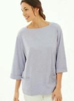 NEW PURE JILL J. JILL M L Petite Relaxed Top 3/4 Slv Cotton/Mdl Pockets Lavender