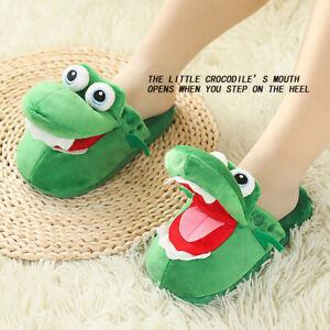 Open mouth cartoon animal crocodile green plush indoor slippers creative warmth