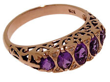 R307 Genuine 9ct SOLID Rose Gold Natural Amethyst & Diamond Bridge Ring size O