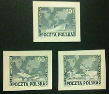 POLAND STAMPS Fi498-00 Sc457-59 Mi533-35 - Universal Postal Union,1949, newprint