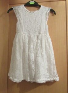 GIRLS AGE 4 YEARS IVORY WHITE FLOWER LACE DRESS