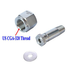 New Stainless Steel CGA 320 CO2  Regulator Inlet Nut & Nipple with Washer #5