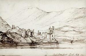 URQUHART CASTLE LOCH NESS SCOTLAND Pen & Ink Drawing 1828 - 19TH CENTURY