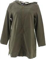 Denim & Co Petite Comfy Knit Denim Zip Front Jacket True Olive PXL NEW A349711