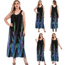 Плюс размер богемное принтом женские длинный макси платье праздник спагетти ремнем сарафан