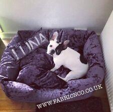 Large Crushed Velvet Dog Pet Bed - Purple