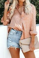Peach Leopard Jacquard Embossed Button Up Collar Long Sleeve Shirt X-LARGE