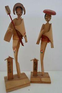 2 vintage hand made bamboo JAPANESE LADIES - GEISHA doll Figurines Japan af