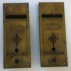 Vintage 1930's 2 Brass Plated Mail Boxes,Door Bells Metal Art Deco