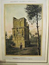 Tarragona.Torre Escipiones. Litografia original.1860