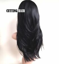 Off Black 3/4 Wig Fall Hair Piece Layers Long Straight Half Wig 015-1B