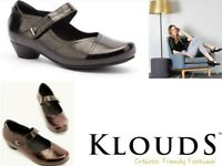 Klouds Shoes Orthotic friendly comfort leather dress heels with strap Daffodil