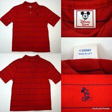 Vintage Boys Disney Wear Mickey Polo Shirt Red Striped Embroidered Logo XL
