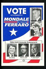 Political postcard Presidential campaign card Mondale Ferraro 1984
