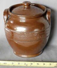 Antique redware lidded jar incised decorations 19th century Maine / PA origin