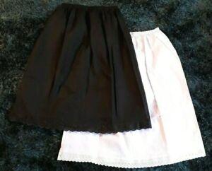 Black White 100% Cotton Underskirts UK Size 4 -20 Half Slip Waist Slip Petticoat