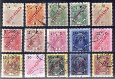 Mozambique Co. sc#90-104 (1916) Elephants Surcharged in Cents full set VF Used