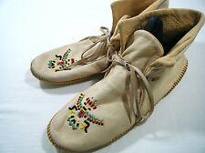 Vtg Womens 8 * QUODDY * Leather Indian Moccasin SOFT Ankle Boots Beaded Shoes