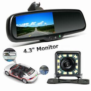 "12V 4.3"" Car Video Monitor Auto Rear View Mirror LCD Screen Universal w/Camera"