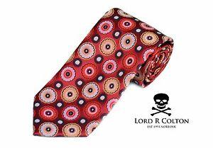 Lord R Colton Masterworks Tie Red & Gold Starlight Silk Necktie - $195 New