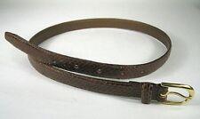 Belt Women Size XS 26.5 In Brown Snake Skin Leather Taiwan Goldtone Buckle