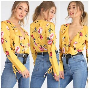 LADIES YELLOW FLORAL PRINT V DEEP PLUNGE NECK FRILL RUFFLE WRAP BODYSUIT TOP