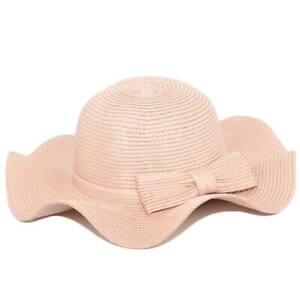Cappello parasole di paglia ondulato cipria rosa donna elegante tesa largasole e