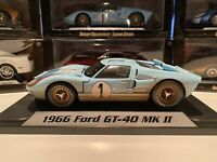 1966 Ford GT-40 MK II #1 Blue Ken Miles Dirty Shelby Collectible 1/18 Scale