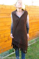 gilet châle laine marron hiver MC PLANET neuf étiquette *HAUT DE GAMME* VAL 150€