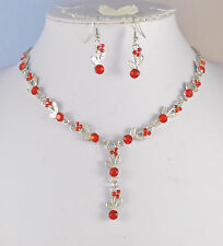 SILVER TONE  RED  CRYSTAL  NECKLACE & EARRINGS SET