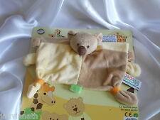 Doudou ours plat, jaune et marron, MGM, Dodo d'amour