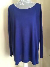 Ladies Long Sleeve Blue / Purple Oversized Zip Top Size 10 By Papaya