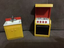 Fisher Price Vintage Furniture 1970's 70's Kitchen Stove Oven Sink Yellow Lot