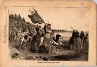 Antique Original 1881 Mecca and Pilgrims on Camels, Etching Engraving Print