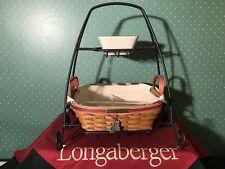 Longaberger Silver Bells basket set w/W.I. stand and Garland dish - NEW