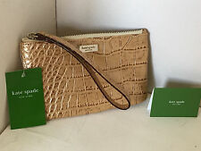KATE SPADE KNIGHTSBRIDGE GOLD METALLIC CROC LEATHER PURSE WALLET WRISTLET $125