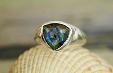 Silberring Handarbeit Labradorit blau WOW Massiv 57 Eckig Ring Silber Elegant