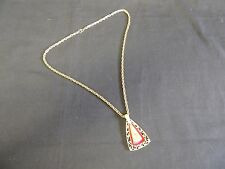 Vintage Goldtone Revere Chain Link Triangle Pendant Charm Necklace Red Enamel