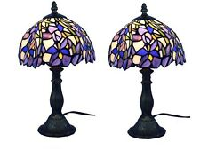 "Tiffany Style Stained Glass Lamp Set of Two (2) Table Blue Purple 13"" Desk Light"