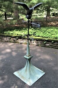 19th C Antique Copper Flying Eagle Weathervane w/ Cupola + Directionals