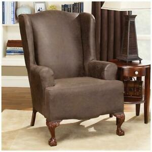 Sure Fit® Stretch Leather Wing Chair Slipcover brown