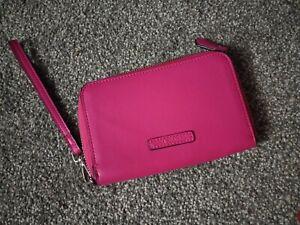 Vera Bradley Hot Pink Zip Around Wristlet Wallet Solid Fuchsia Vegan Leather New