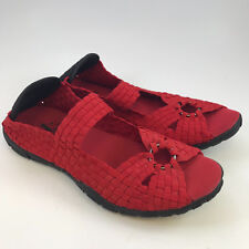 Corkys Woven Shoes Red Flats Ring Mary Jane Open Toe Black New In Box Size 7